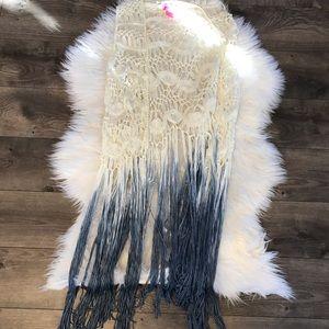 Betsey Johnson one size crochet fringe ombré cardi